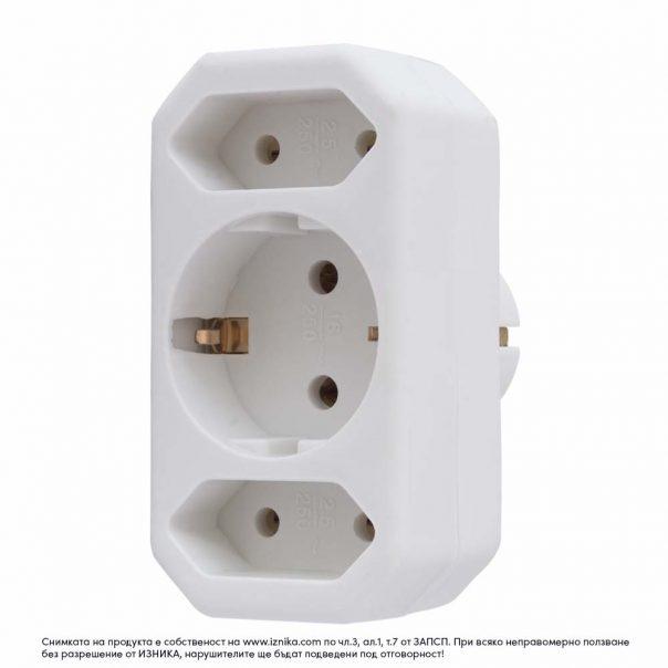 Разклонител без кабел ZD01-01-2 максимално натоварване 3500W - ф