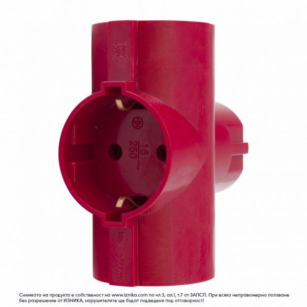 Разклонител без кабел ZD01-03 червен максимално натоварване 3500W - ф