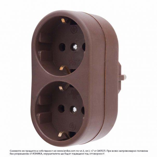 Разклонител без кабел ZD01-02 кафяв максимално натоварване 3500W - ф