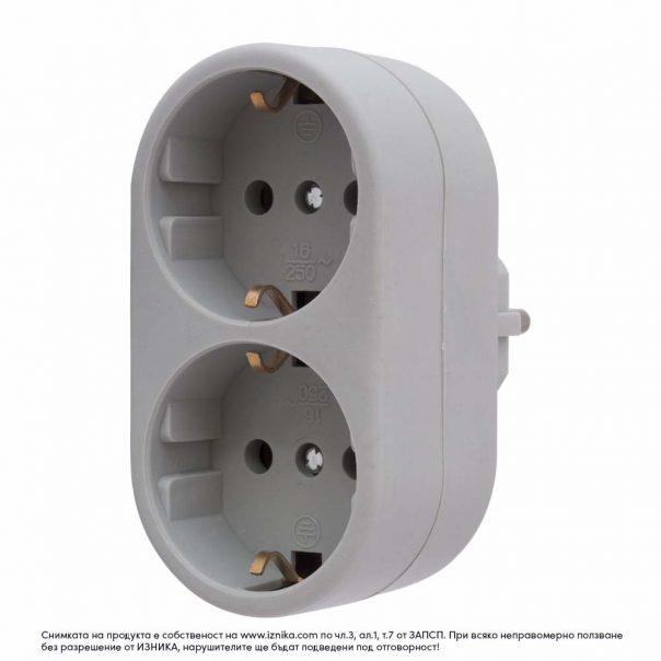 Разклонител без кабел, ZD01-02 сив 3500W - ф
