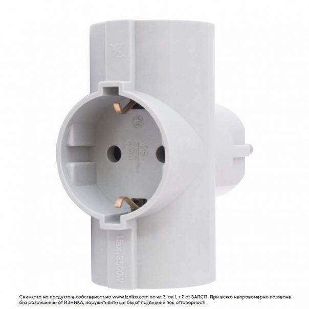Разклонител без кабел ZD01-03 сив 3500W - ф