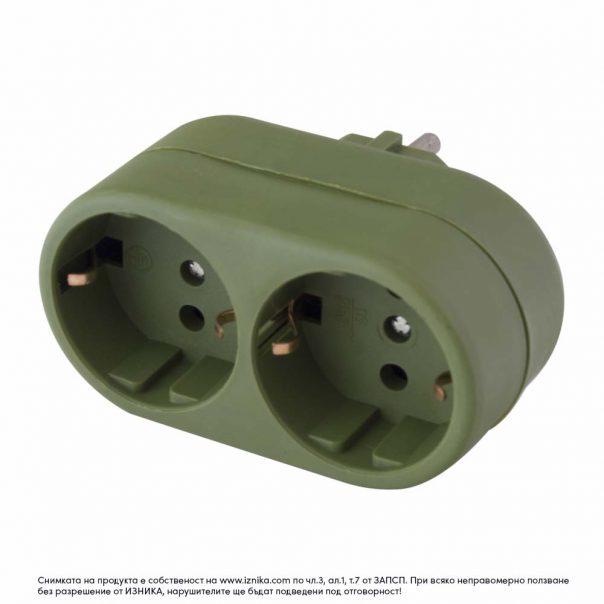 Разклонител без кабел, ZD01-02 зелен 3500W - ф