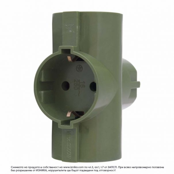 Разклонител без кабел ZD01-03 зелен 3500W - ф