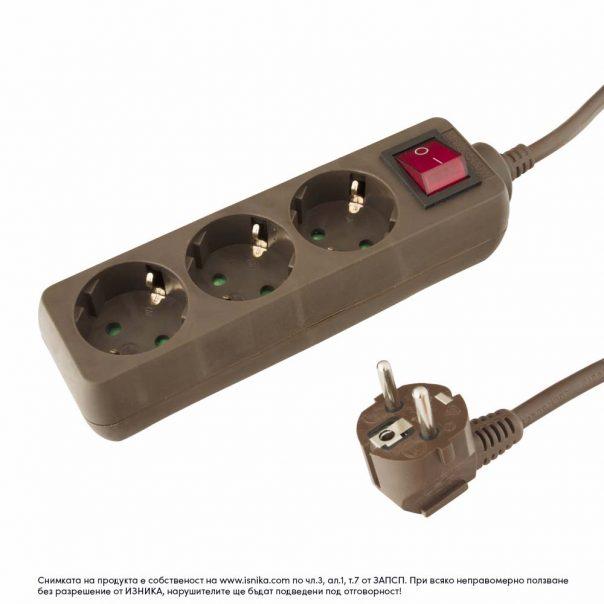 Разклонител 3 гнезда шуко с 1.5м кабел с ключ – 103BK - кафяв-ф