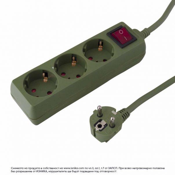 Разклонител 3 гнезда шуко с 1.5м кабел с ключ – 103BK - зелен-ф-