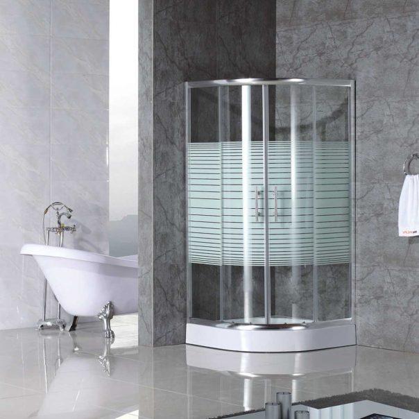 Душ кабина ъглова - овална за баня с бели ленти и душ корито