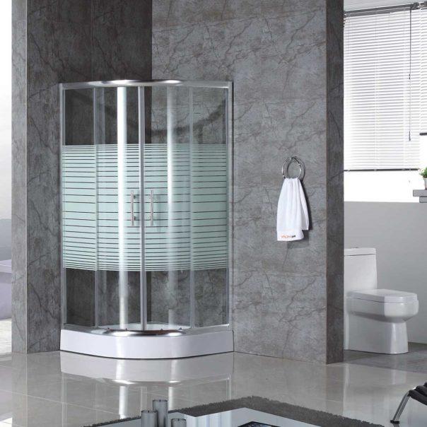 Душ кабина ъглова - овална за баня с бели ленти, душово корито