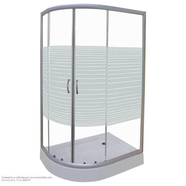 Дясна асиметрична душ кабина с бели ленти, душ корито бяло